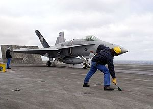 U.S. Navy F/A-18C from VFA-131 launches from F...