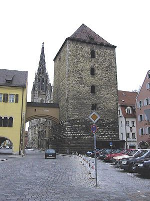 Tower in Regensburg, Germany part of former ci...