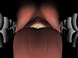 Anterior view of tongue taken within mouth jus...