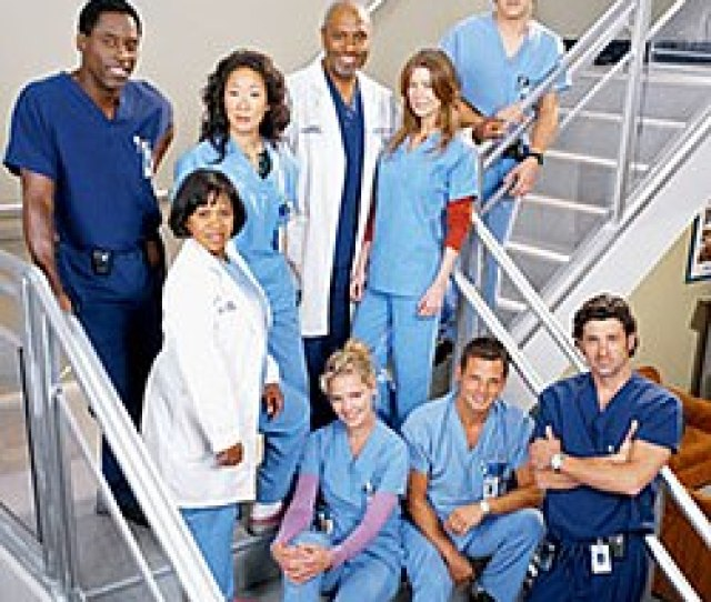 A Photo Of The Greys Anatomy Characters In Surgical Scrubs
