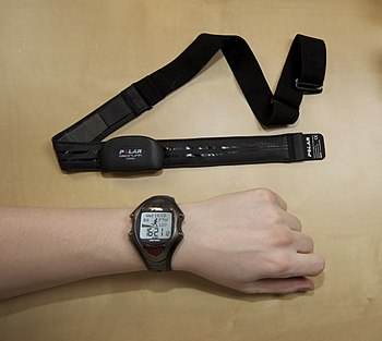 Photo of a heart rate monitor showing chest strap and watch