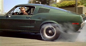 Detective Bullitt spins his tires for the chase.