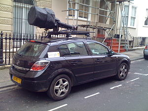 Google street view car in Brighton, UK, camera...
