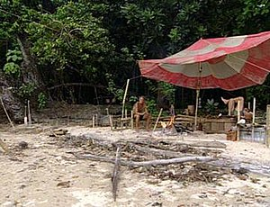 The tribe camp near the end of Survivor: Borne...