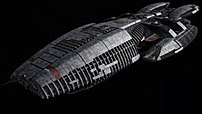 A Battlestar (the Battlestar Galactica) from the re-imagined series, flight pods retracted for FTL travel