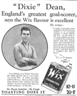 Dean in a 1928 newspaper advert for Wix Cigarettes