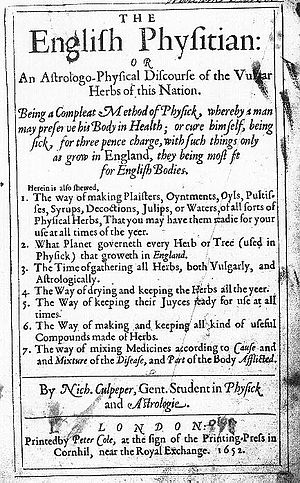 The title page of The English Physitian.