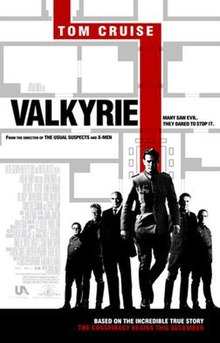 """On a white background are gray lines showing floor plans of a building. Below the lines are a group of six men wearing German army uniforms and business suits, with one prominently in front of the group. A red line traces through the floor plans and behind the front man. Beside the line is the word """"VALKYRIE"""", and within the line in smaller print is """"TOM CRUISE""""."""