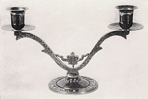 An example of a bronze Shabbat candlestick hol...