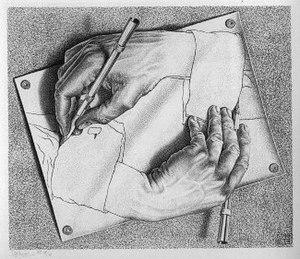 M. C. Escher − Drawing Hands, 1948.