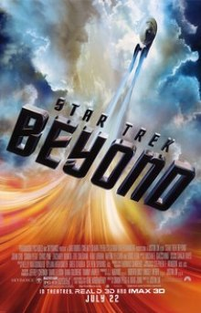 """The USS Enterprise flying through the universe, with the film's title """"Beyond"""", and the film's billing below."""