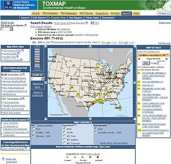 TOXMAP, A Map of benzene release 2007-8 lower ...