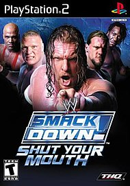 The cover art for the US version of WWE SmackDown! Shut Your Mouth.