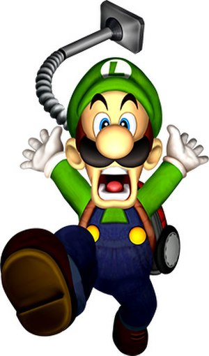 Luigi as seen in Luigi's Mansion. The vacuum w...