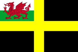 Flag of St David with Welsh Red Dragon