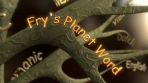 """The title card for Fry's Planet Word. A series of tree branches have the names of languages such as """"Dutch"""", """"English"""", and """"Germanic"""" are seen along background branches and """"Fry's Planet Word"""" is in the foreground."""