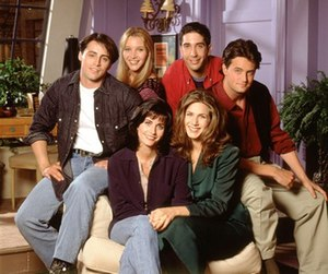 The cast of Friends in the first season. Front...