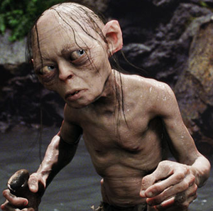 CG depiction of Gollum created by Weta Digital...