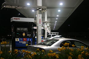Exxon gas pumps in Framingham, MA.