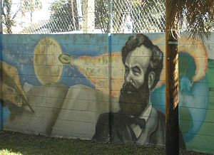 Mural commemorating Jules Verne's book From th...