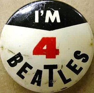 A Beatles' badge, licenced by the Seltaeb company