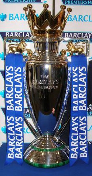 English: English Premier League trophy, inscri...