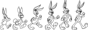 A depiction of Bugs Bunny's evolution through ...