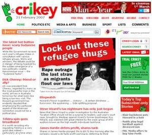Crikey.com.au front page.