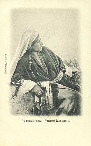 A Kashmiri pandit lady, photograph by Fred Bre...