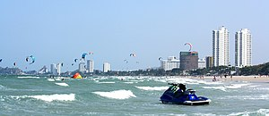 Kiteboarders at Hua Hin beach