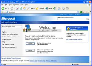 Microsoft Update in Windows XP.