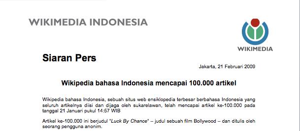 Siaran pers  Wikipedia bahasa Indonesia ensiklopedia bebas