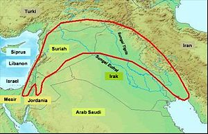 "Daerah ""bulan sabit yang subur"" di Timur Tengah. Di tempat ini ditemukan bukti-bukti awal pertanian, seperti biji-bijian dan alat-alat pengolahnya."