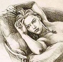 A pencil-drawing sketch depicting a woman with a somewhat stern face lying on a chair and pillow naked, only wearing a diamond necklace. From the breast down the picture is cut off.