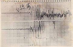 Il grafico del sismografo durante la scossa