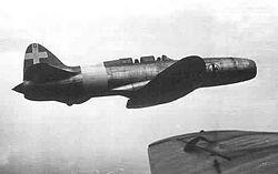 Il Campini-Caproni C.C.2 durante ilvolo Milano-Roma del 30 novembre 1941