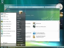 Paparan muka hadapan Windows Vista, keluaran windows terkini.