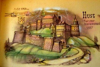 Руїни потужного замку, олені та страуси
