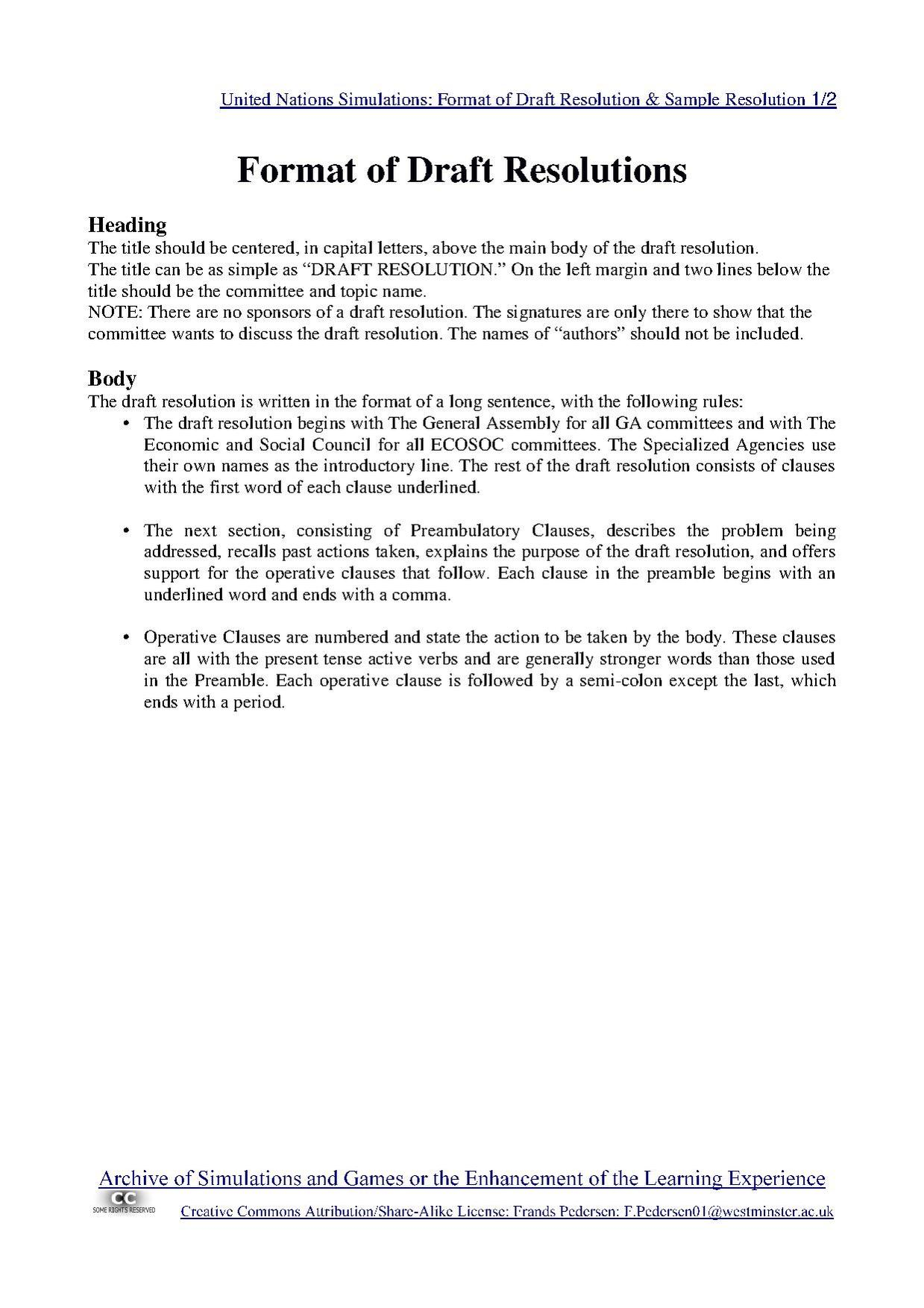 File United Nations Simulations Format Of Draft Resolution