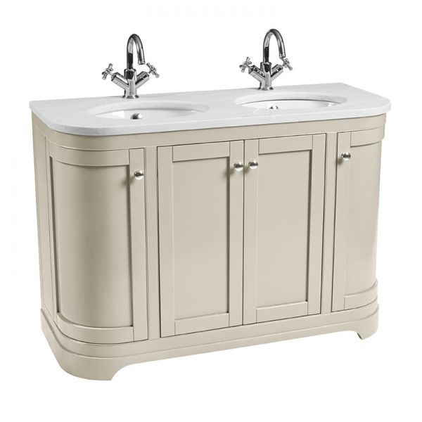 Marlborough 1200mm Freestanding Curved Double Basin Unit With Worktop Underslung Basin