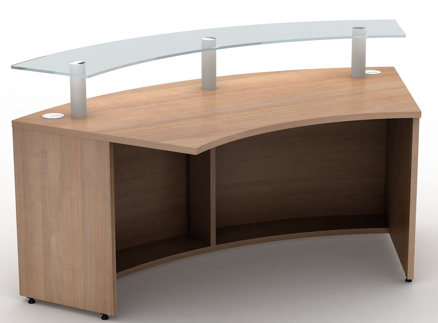1800mm Radius Curved Reception Desk with Glass Shelf