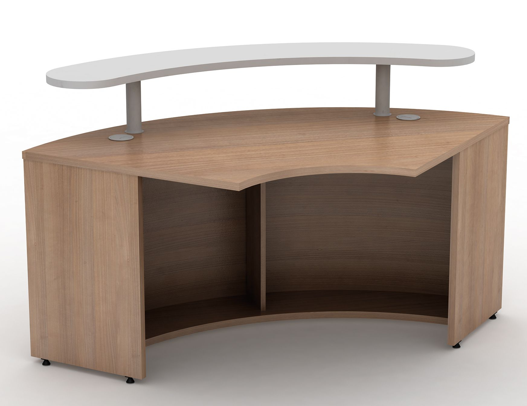 Curved 1200mm Reception Desk with Shelf  Avalon  Online