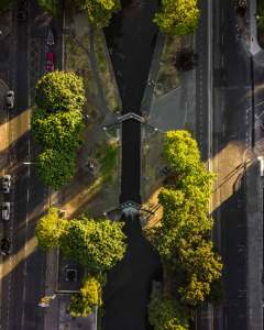drone aerial photography of grand canal lock 4 in dublin