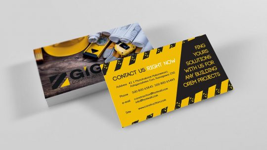 construction business card mockup front and back