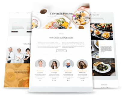 food website webpage layout examples