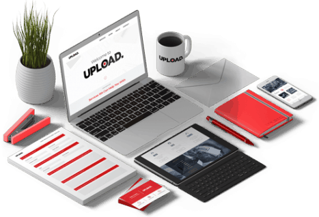 upload media isometric view of equipment for content management
