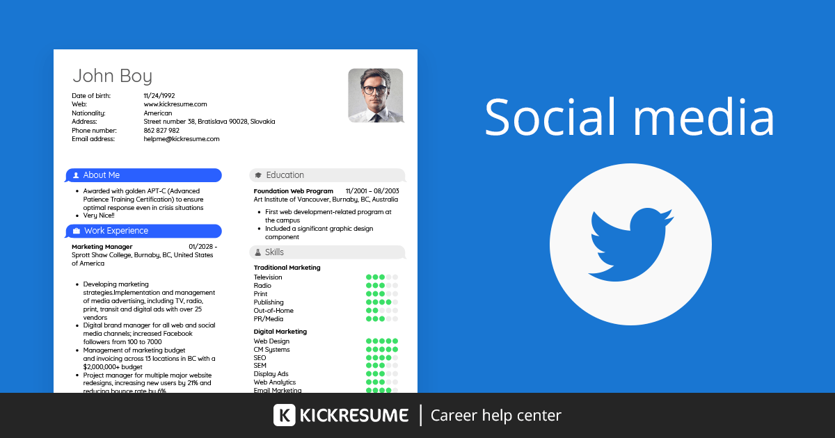 How to Include Social Media on a Resume Examples  Kickresume