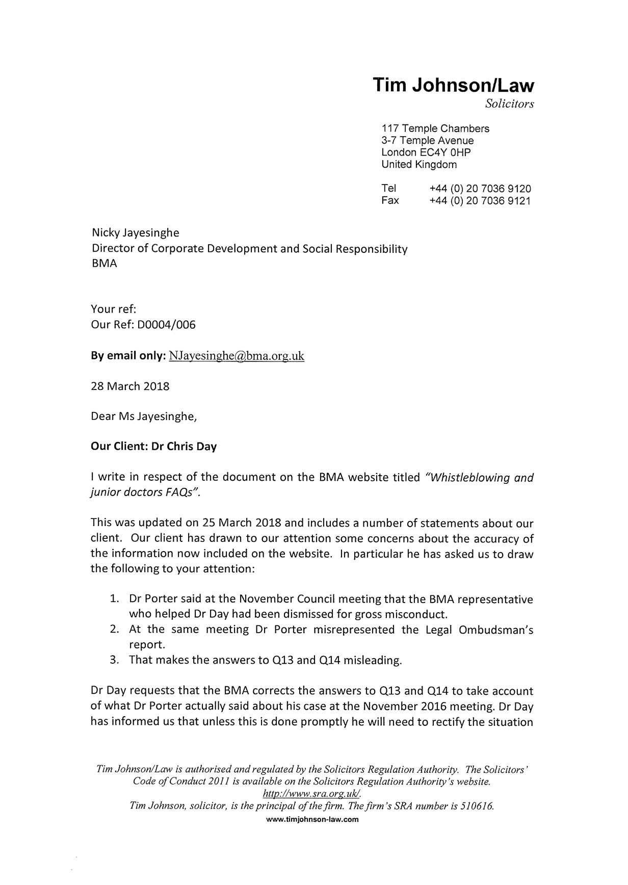 Legal letter challenging false statements from the BMA