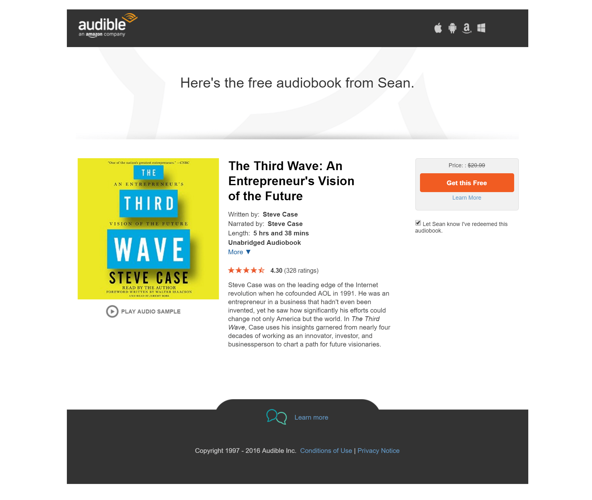 free audio book from