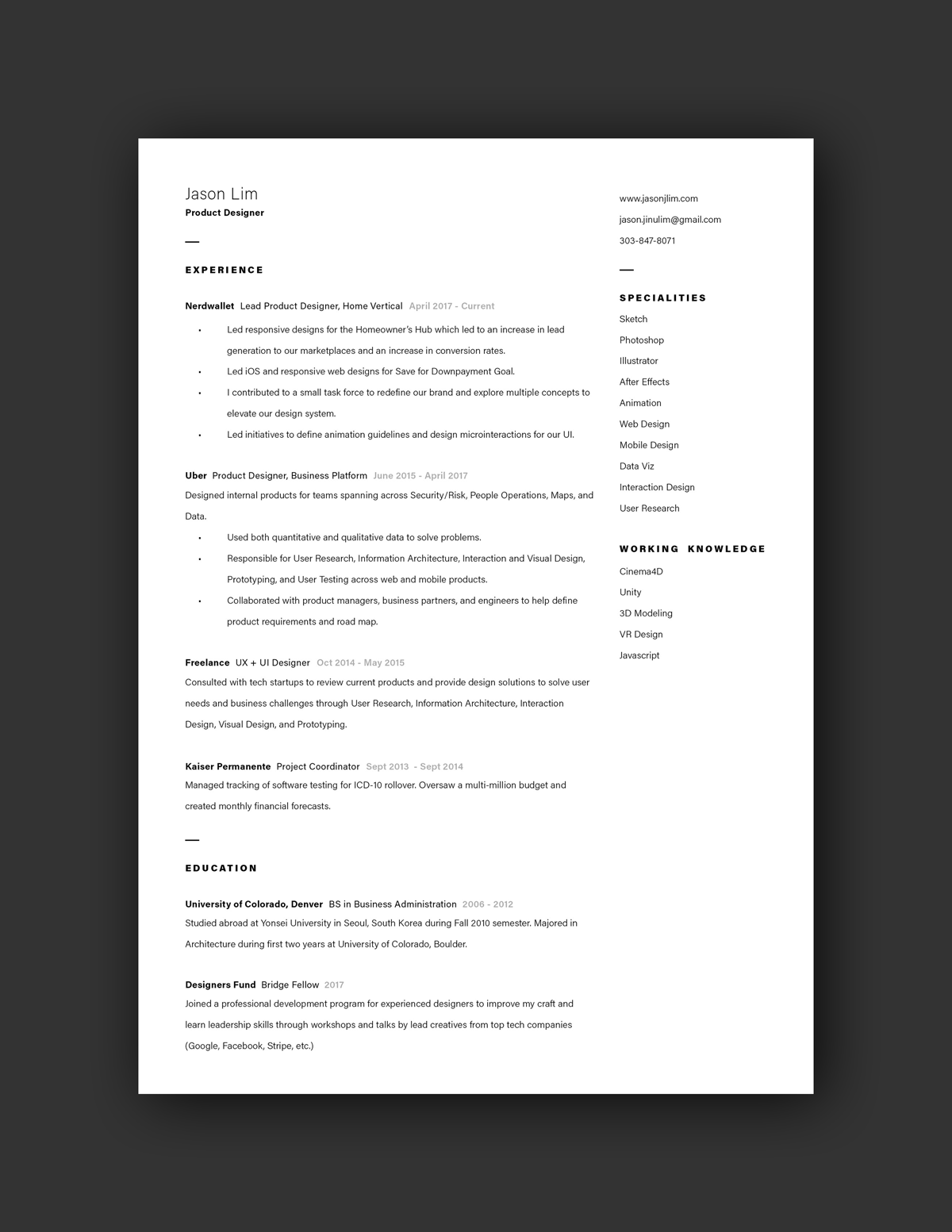 Example Resumes 21 Inspiring Ux Designer Resumes And Why They Work